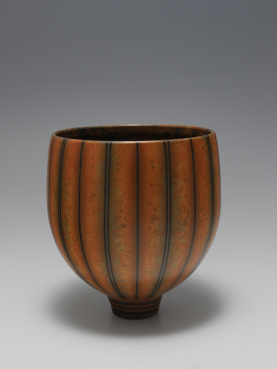 Terra-sigillata bowl form. Height: 15 cm. Price in GBP:  £450.00 Single and double stripes.