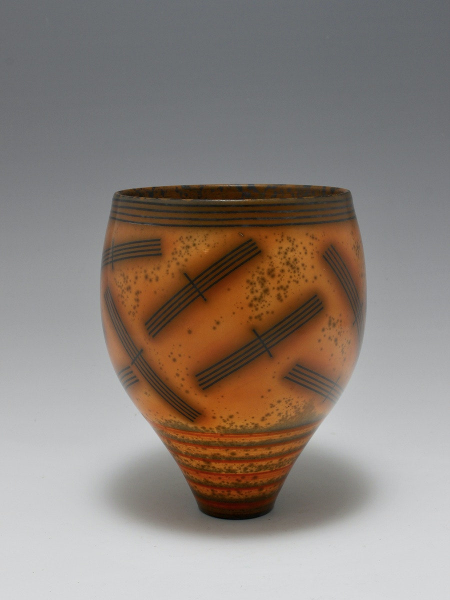 Terra-sigillata Vessel Form. Height: 17cm Price in GBP:  £590.00 Deep smoking around the abstract shapes.
