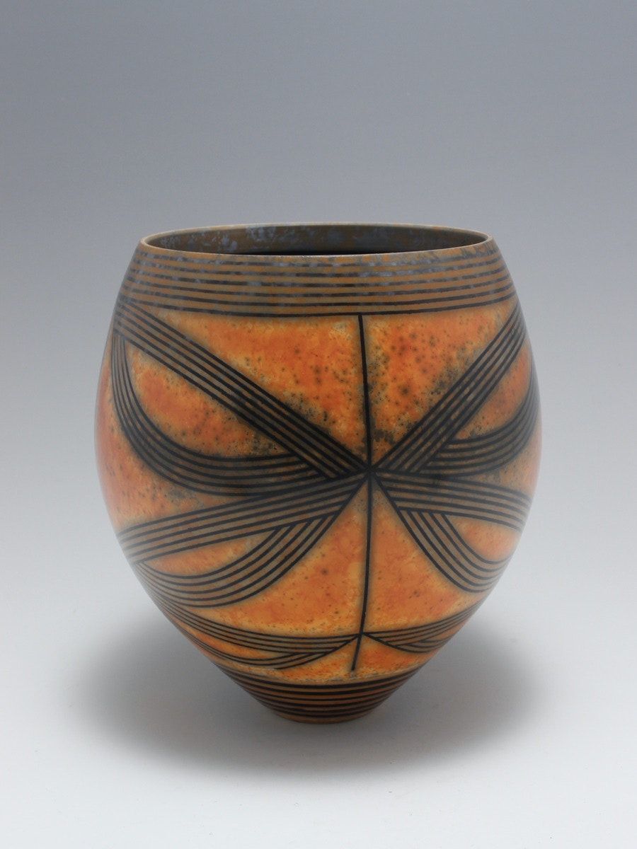 Terra-sigillata Vessel Form. Height: 19 cm.  Price: GBP £800.00 Generous looping lines flow and contrast with oranges and yellows balancing the whole form.