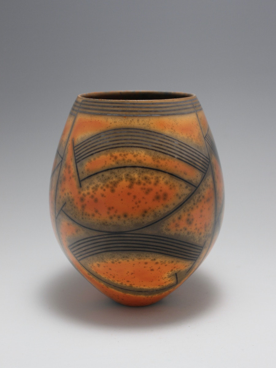 DR/N14 Terra-sigillata Vessel Form, Pictogram. Height: 19.5 cm. Price: GBP £950.00  Fine speckling scattered around the piece, contrasting with the orange. Development of the carbon around the lines.