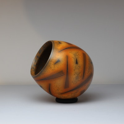 Terra-sigillata Balancing Form sits on a wood and textile ring. Base to rim measurement without ring: 14 cm. Price in GBP: SOLD