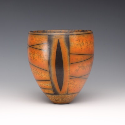 DR/B1 Terra-sigillata Bowl, mottled interior. Leaf shape repeated on reverse side.  Height: 13 cm. Price in GBP: £380.00